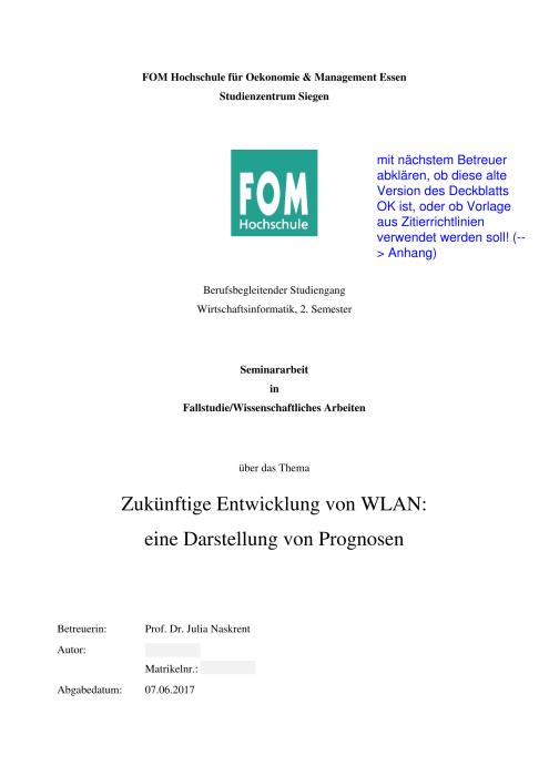 Fom Studenten Forum Seminararbeit Inkl Kommentare Der Dozentin Entwicklung Wlan Marktplatz