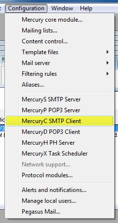 Mercury SMTP Relay einrichten