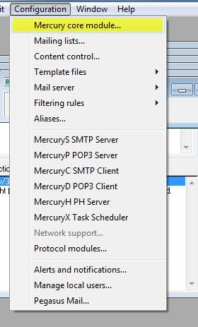 3001 in Mercury einrichten (XAMPP Mailserver)