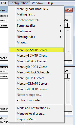 Mercury SMTP Server konfigurieren