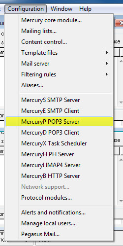 Mercury POP3-Server einrichten